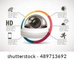 cctv camera concept   device... | Shutterstock .eps vector #489713692
