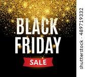 black friday sale gold glitter... | Shutterstock .eps vector #489719332