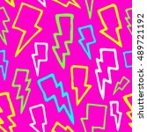 colorful comic thunder bolts... | Shutterstock .eps vector #489721192