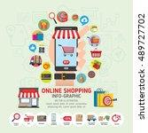 online shopping concept. mobile ... | Shutterstock .eps vector #489727702
