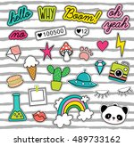 80s pop art design  patches ... | Shutterstock .eps vector #489733162