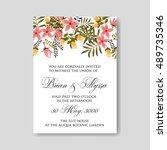 romantic pink peony bouquet... | Shutterstock .eps vector #489735346