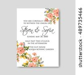 romantic pink peony bouquet... | Shutterstock .eps vector #489735466