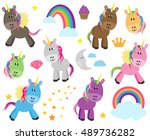 cute vector collection of... | Shutterstock .eps vector #489736282