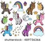 cute vector collection of... | Shutterstock .eps vector #489736366