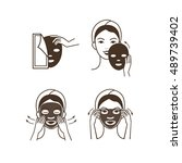 steps how to apply facial mask. ... | Shutterstock .eps vector #489739402