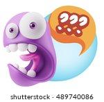 3d rendering surprise character ... | Shutterstock . vector #489740086