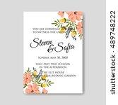 romantic pink peony bouquet... | Shutterstock .eps vector #489748222