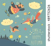 cute animals and autumn leaves... | Shutterstock .eps vector #489752626