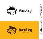 monkey logo template | Shutterstock .eps vector #489752692