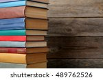 old antique books on grey... | Shutterstock . vector #489762526