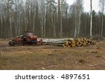 logs are stacked up after being ... | Shutterstock . vector #4897651