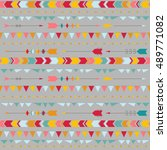 boho vector tribal seamless... | Shutterstock .eps vector #489771082
