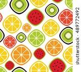 seamless fruits pattern. vector ...   Shutterstock .eps vector #489772492