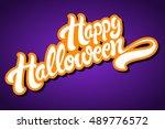 happy halloween hand drawn... | Shutterstock .eps vector #489776572