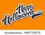 happy halloween hand drawn... | Shutterstock .eps vector #489776575