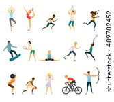 sport people flat colored icons ... | Shutterstock .eps vector #489782452