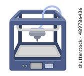 3d printer in cartoon style... | Shutterstock .eps vector #489786436