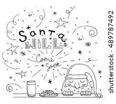 santa with cookies and milk.... | Shutterstock .eps vector #489787492