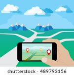 hand holding smart phone at day.... | Shutterstock .eps vector #489793156