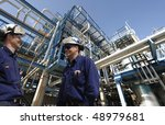 engineers  pipelines and oil... | Shutterstock . vector #48979681