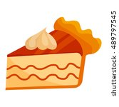piece of cake with cream icon... | Shutterstock .eps vector #489797545