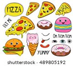 cartoon pizza slice  macaroon ... | Shutterstock .eps vector #489805192
