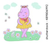 hippo girl with closed eyes... | Shutterstock .eps vector #489806992