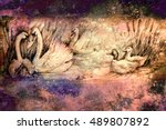 Decorative Drawing Of Swans An...