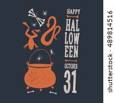 halloween. witch objects.... | Shutterstock .eps vector #489814516