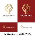 abstract golden tree logo of... | Shutterstock .eps vector #489820306