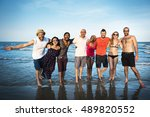 young people standing near sea... | Shutterstock . vector #489820552