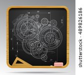 square blackboard with chalk... | Shutterstock .eps vector #489826186