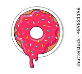 vector donut picture for t... | Shutterstock .eps vector #489831196