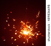 christmas sparkler in haze with ... | Shutterstock . vector #489836698