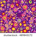 hippie violet wallpaper with... | Shutterstock .eps vector #489843172