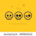 halloween cartoon vector skulls | Shutterstock .eps vector #489846262
