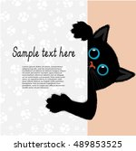 playful kitten represents a... | Shutterstock .eps vector #489853525
