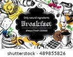 traditional breakfast.... | Shutterstock .eps vector #489855826