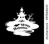 happy halloween funny abstract... | Shutterstock . vector #489868642