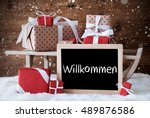 sleigh with gifts  snow ... | Shutterstock . vector #489876586