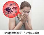 woman sneeze rashes  allergy to ... | Shutterstock . vector #489888505