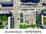 aerial city view with... | Shutterstock . vector #489890896