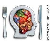 brain food to boost brainpower... | Shutterstock . vector #489893215