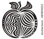 beautiful apple. vector... | Shutterstock .eps vector #489894022