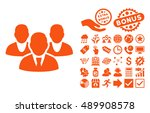staff icon with bonus pictogram.... | Shutterstock .eps vector #489908578