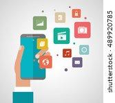smartphone mobile and media app ... | Shutterstock .eps vector #489920785
