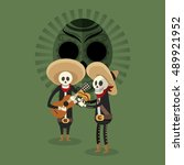 mexican culture related icons... | Shutterstock .eps vector #489921952