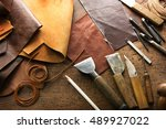 leather craft or leather... | Shutterstock . vector #489927022