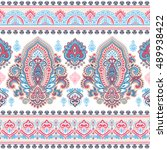 indian floral paisley medallion ... | Shutterstock .eps vector #489938422